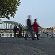 People Walk Along The Rhine River Poster