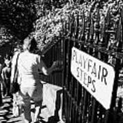 People Walking Down The Playfair Steps Down Into Princes Street Gardens Edinburgh Scotland Uk United Poster by Joe Fox
