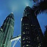 Petronas, Twin Towers At Night, Low Poster