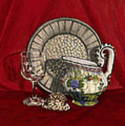 Pewter Dish With Red Cloth. Poster