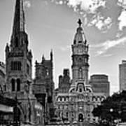 Philadelphia City Hall Bw Poster