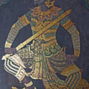 photo of art painting on Thai temple wall Poster by Komkrit Muanchan