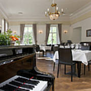 Piano In A Upscale Dining Room Poster