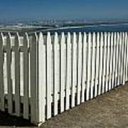 Picket Fence By The Cabrillo National Monument Lighthouse In San Diego Poster