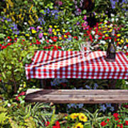 Picnic Table Among The Flowers Poster
