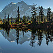 Picture Lake - Heather Meadows Landscape In Autumn Art Prints Poster