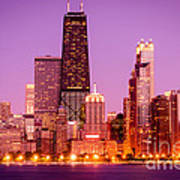 Picture Of Chicago Skyline By Night Poster