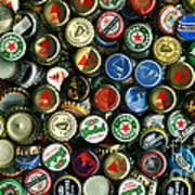 Pile Of Beer Bottle Caps . 9 To 16 Proportion Poster