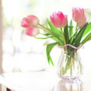 Pink Glass Vase Of Pink Tulips In Window Poster