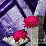 Pink Mums On Purple Poster