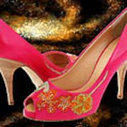 Pink Peeptoe Pumps With Swarovski Crystals Poster