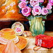 Pink Roses In A Green Vase With A String Of Pearls And A Pretty Summer Straw Hat  Poster
