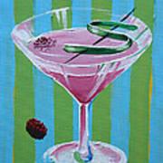 Pink Stripe Martini Poster