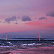 Pink Sunset Over Mackinac Michigan Poster