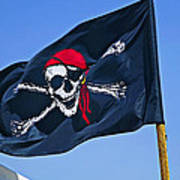 Pirate Flag Skull With Red Scarf Poster