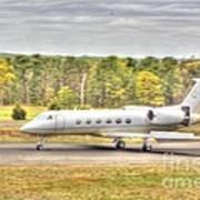 Plane Landing Air Brakes Blur Background Poster