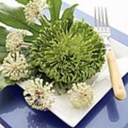 Plate Decorated With Flowers Poster