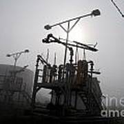 Platforms And Tanks At Petrocor In The Fog Poster