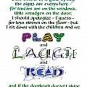 Play Laugh Read Poster by Judy Dodds