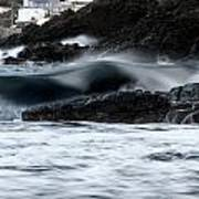 playing with waves 2 - A beautiful image of a wave rolling in noth coast of Menorca Cala Mesquida Poster