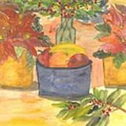 Poinsettias Holly And Table Fruit Poster