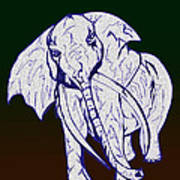 Pointillism Elephant Poster
