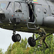 Polish Special Forces Member Fast-ropes Poster