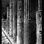 Pompeii Columns Black And White Poster