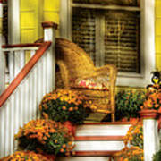 Porch - Westifeld Nj - In The Light Of Autumn Poster by Mike Savad
