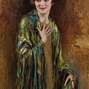 Portrait Of A Girl With A Green Shawl Poster