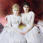 Portrait Of Marthe And Terese Galoppe Poster by Leon Joseph Bonnat