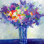 Posy In Lavender And Blue - Painting Of Flowers Poster