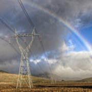 Powerlines, Rainbow Forms As Evening Poster