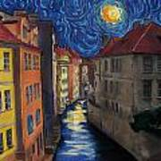 Prague By Moonlight Poster