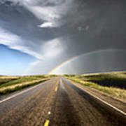 Prairie Hail Storm And Rainbow Poster