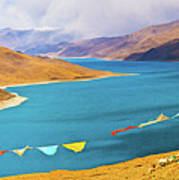 Prayer Flags By Yamdok Yumtso Lake, Tibet Poster