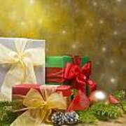 Presents Decorated With Christmas Decoration Poster