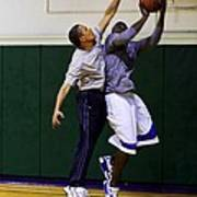 President Barack Obama Blocks A Shot Poster by Everett