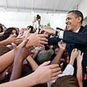 President Barack Obama Greets Young Poster