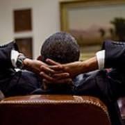 President Barack Obama Leans Back Poster by Everett