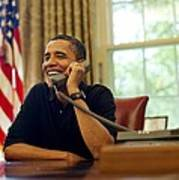 President Barack Obama Talks By Phone Poster by Everett