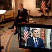 President Barack Obama Tapes The Weekly Poster