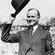 President Calvin Coolidge Tips Is Hat Poster