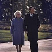 President George And Barbara Bush Take Poster by Everett