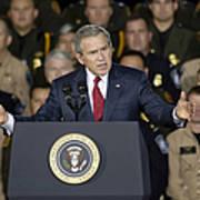 President George W. Bush Speaks Poster by Stocktrek Images