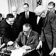President Lyndon Johnson Signs The 24th Poster