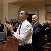 President Obama And Vp Biden Applaud Poster