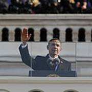 President Obama Gestures As He Delivers Poster