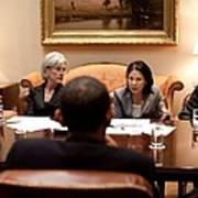 President Obama Listens To Nancy-ann Poster