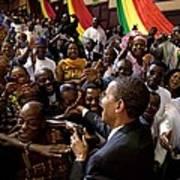 President Obama Shakes Hands Poster by Everett